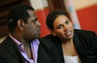 Aboriginal actors Deborah Mailman (R) and Jimi Bani, of the film &quot;Mabo&quot;, during an interview in Sydney on May 9. Mailman&#39;s new film &quot;The Sapphires&quot; is the latest to come to international attention with a screening in official selection at the Cannes film fest that kicks off Wednesday
