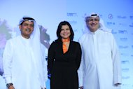 (L-R) Abdulhamid Juma, Shivani Pandya and Masoud Amralla Al Ali at the launch of Dubai International Film Festival 2012.