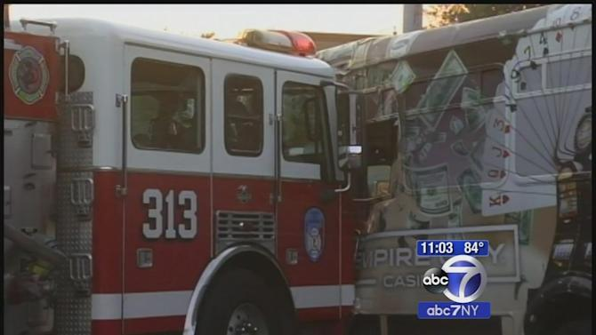 Fire engine crashes into casino bus in Yonkers; 10 injured