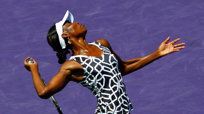 Venus Williams In Action Against Agnieszka Radwanska Of Poland Getty Images