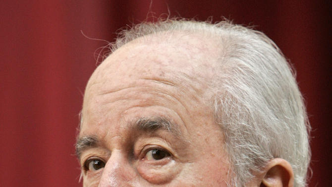 FILE - This is a  Thursday March 5, 2009 file photo of  former prime minister Edouard Balladur delivers a speech following a meeting with French President Nicolas Sarkozy at the Elysee Palace in Paris.   Former President Nicolas Sarkozy is the latest in a recent string of former French leaders in the legal crosshairs. Edouard  Balladur, a former Sarkozy mentor who was prime minister in the early 1990s, has denied allegations that his failed presidential campaign in 1995 _ when Chirac won _ may have received illegal kickbacks related to a defense deal between France and Pakistan. A Lebanese-born businessman suspected of a role in a bribery scandal involving a 1994 sale of French submarines to Pakistan, has filed a suit against Balladur, for allegedly benefitting in the so-called Karachi affair. Investigators are examining whether the case had ties to a 2002 attack in Karachi that killed 11 French naval construction workers and four others.( AP Photo/Jacques Brinon, pool, FILE)