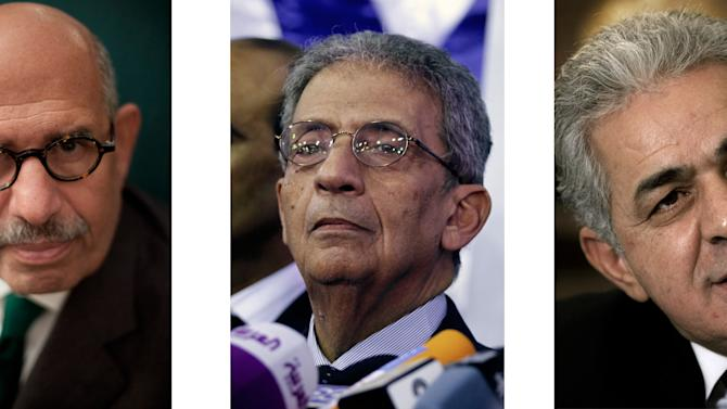 This combination of three file photos shows, from left, shows opposition leaders, Mohammed ElBaradei, Nobel Prize laureate and former head of the U.N. nuclear agency, Amr Moussa, former foreign minister, and Hamdeen Sabahi, a former presidential candidate in Egypt. An Egyptian official says the country's top prosecutor has ordered an investigation into accusations against opposition leaders, ElBaradei, Moussa, and Sabahi, of incitement to overthrow the regime. (AP Photo/Bernat Armangue; Khalil Hamra; Nasser Nasser, File)