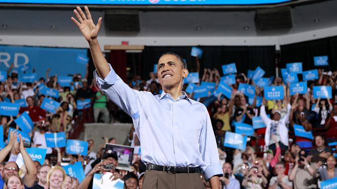 President Barack Obama arrives to speak at a campaign rally at The Ohio State University, Saturday, May 5, 2012 in Columbus, Ohio . (AP Photo/Haraz N. Ghanbari)