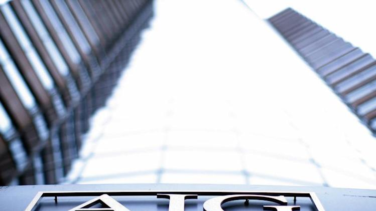 File image of the logo of American International Group (AIG) is seen at their offices in New York