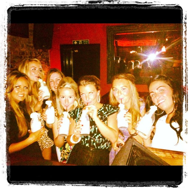 Celebrity photos: Coleen Rooney went on a girls night out last weekend, where they enjoyed alcoholic milkshakes. She tweeted this photo of her pals, along with the caption: The girls are on the $5 do