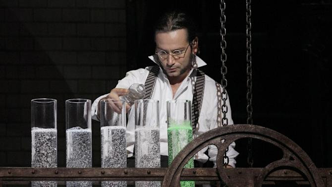 """This theater publicity image released by The Hartman Group shows Constantine Maroulis during a performance of """"Jekyll & Hyde"""" playing at the Marquis Theatre in New York. (AP Photo/The Hartman Group, Chris Bennion)"""