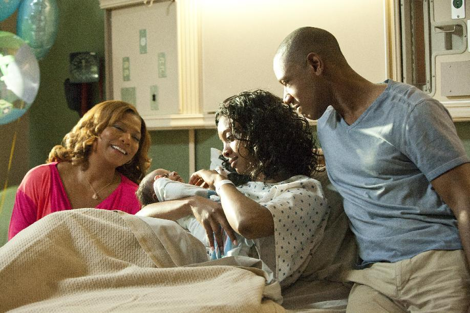 "This undated image released by Lifetime shows Queen Latifah as M'Lynn, from left, Condola Rashad as Shelby and Tory Kittles as Jackson in a scene from the Lifetime Original Movie, ""Steel Magnolias,"" premiering Sunday, Oct. 7, at 9pm on Lifetime.  (AP Photo/Lifetime, Annette Brown)"