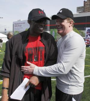 National Football League commissioner Roger Goodell, right, greets Deion Sanders at an NFL predraft  event in New York,  Wednesday, April 27, 2011. NFL players are urging a federal judge to deny the league's request to essentially restore the lockout, saying their careers are at stake. Goodell, meanwhile, says owners are preparing for every contingency.  (AP Photo/Richard Drew)
