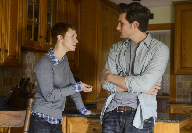 Emma (Valorie Curry) hands Jacob (Nico Tortorella) a knife in the &quot;Mad Love&quot; episode of &quot;The Following.&quot;