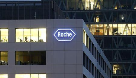The logo of Swiss pharmaceutical company Roche is seen at a plant in the central Swiss village of Rotkreuz