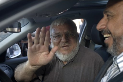 File photo of Aziz Dweik waving to the media in Ramallah