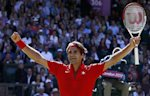 Switzerland's Roger Federer celebrates after winning his men's singles tennis semifinal match against Argentina's Juan Martin del Potro. (Reuters)