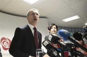 Former Norwegian PM Stoltenberg addresses the media in Oslo