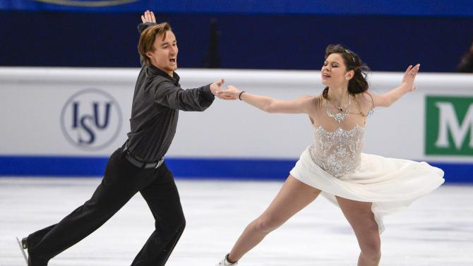 Russia's Elena Ilinykh and Ruslan Zhiganshin perform during the free dance finals at the European Figure Skating championships in Stockholm