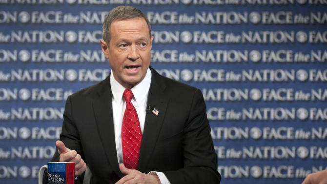 "In this Sunday, Feb. 24, 2013, photo, provided by CBS News, Democratic Gov. Martin O'Malley of Maryland speaks on CBS's ""Face the Nation"" in Washington. O'Malley joined with with Republican Gov. Bob McDonnell of Virginia to call for Congress to prevent impending defense cuts that would hit their states hard. (AP Photo/CBS News, Chris Usher)"