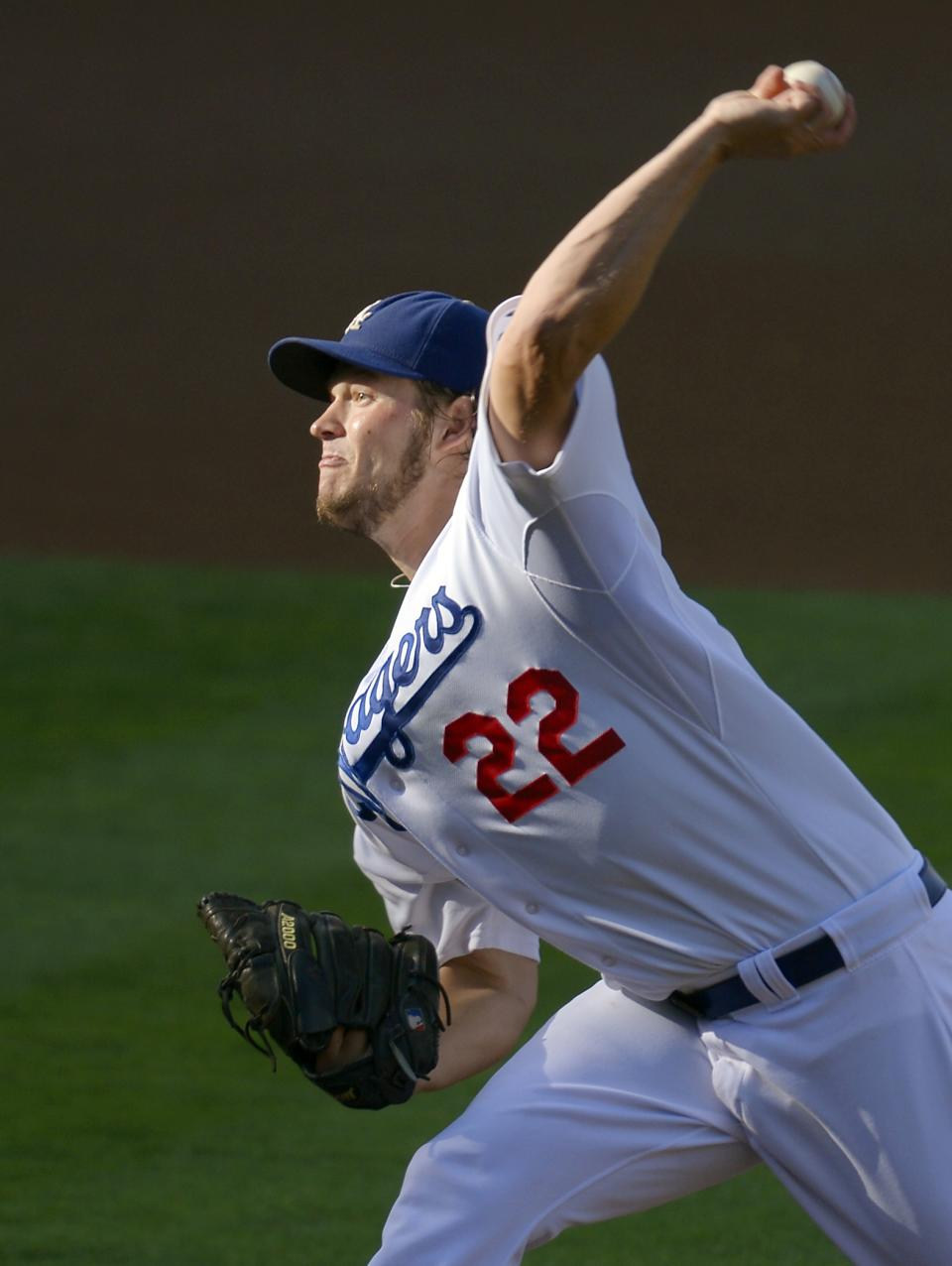 Los Angeles Dodgers starting pitcher Clayton Kershaw throws to a San Francisco Giants batter during the first inning of a baseball game Wednesday, Oct. 3, 2012, in Los Angeles. (AP Photo/Mark J. Terrill)