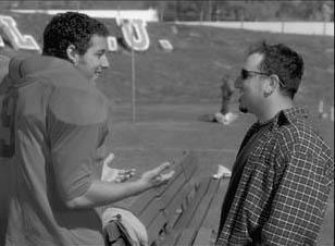 Adam Sandler and director Frank Coraci on the set of Touchstone's The Waterboy