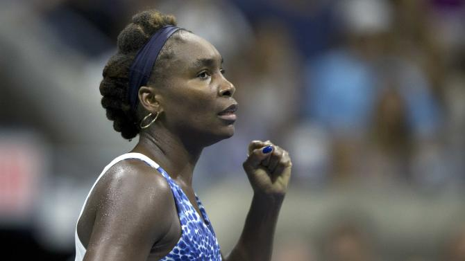 Williams of the U.S. celebrates her victory over compatriot Falconi in their second round match at the U.S. Open Championships tennis tournament in New York