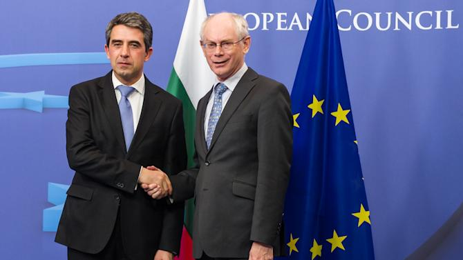 European Council President Herman Van Rompuy, right, welcomes Bulgarian President Rosen Plevneliev upon his arrival at the EU Council building in Brussels, Wednesday March 6, 2013. (AP Photo/Geert Vanden Wijngaert)