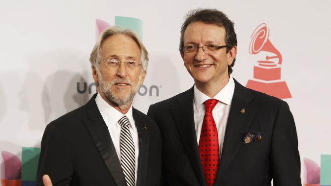 Neil Portnow and Gabriel Abaroa Jr., pose backstage during the 15th Annual Latin Grammy Awards in Las Vegas