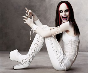 Karolina Kurkova as Marilyn Manson, Photographed by Steven Meisel. Makeup by Pat McGrath.