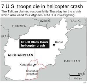 Map locates helicopter crash in Afghanistan;