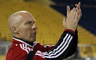 Coach Bob Bradley, pictured in February 2012, said weariness and poor passing contributed to the stunning 3-2 home defeat Egypt suffered against the Central African Republic this weekend in a 2013 Africa Cup of Nations qualifier