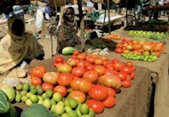 "Sudanese women sell vegetables at the market in Khartoum, February 2012. Nine days of country-wide protests against high prices in Sudan are no ""Arab Spring"", President Omar al-Bashir said on Sunday, referring to a series of uprisings against regional strongmen"