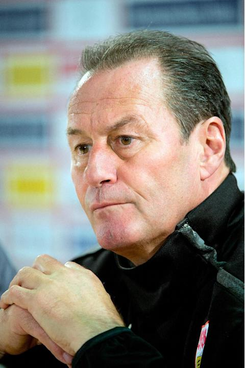 New head coach of German Bundesliga soccer club of VfB Stuttgart, Huub Stevens,  attends a press conference in Stuttgart, Germany, Monday March 10, 2014