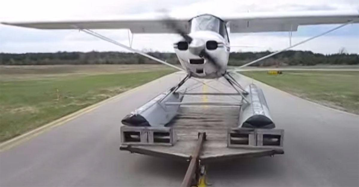 Sea Plane Pilot Takes Off From Speeding Truck!