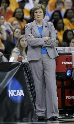 Tennessee head coach Pat Summitt looks on during the first half of an NCAA women's tournament regional semifinal college basketball game against Kansas, Saturday, March 24, 2012, in Des Moines, Iowa. (AP Photo/Charlie Neibergall)