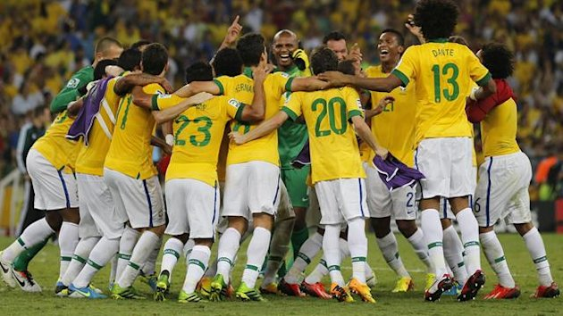 Brazil celebrates their victory over Spain in the Confederations Cup final (Reuters)