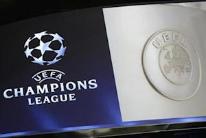 The UEFA Champions League logo is seen during the draw ceremony for the 2013/2014 Champions League soccer competition at Monaco's Grimaldi Forum in Monte-Carlo
