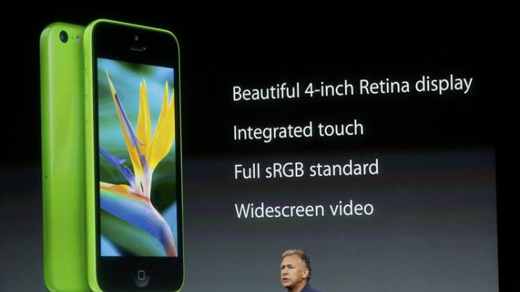 Phil Schiller, senior vice president of worldwide marketing for Apple Inc, talks about the features of the new iPhone 5C at Apple Inc's media event in Cupertino
