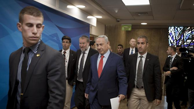 Israel's Prime Minister Netanyahu arrives to attend meeting in Jerusalem