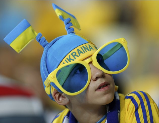 A Sweden's soccer fan cheers before the start of their Group D Euro 2012 soccer match against Ukraine in Kiev