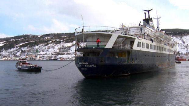 The Lyubov Orlova, as it was being towed out of St. John's harbour on Jan. 23.