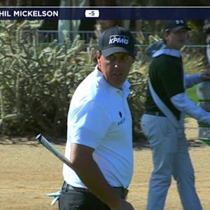 Phil Mickelson gets up-and-down for par on No. 1 at Waste Management