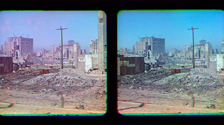 "This Oct. 6, 1906 stereo photograph provided by the Smithsonian's National Museum of American History shows view of earthquake-damaged San Francisco. The San Francisco Chronicle reports that the six images were snapped by color photography pioneer Frederick Eugene Ives several months after the April 1906 ""Great Quake."" National Museum of American History volunteer Anthony Brooks found the glass plate photos while cataloguing a collection donated by Ives' son, Herbert. (AP Photo/Courtesy of the Smithsonian's National Museum of American History)"