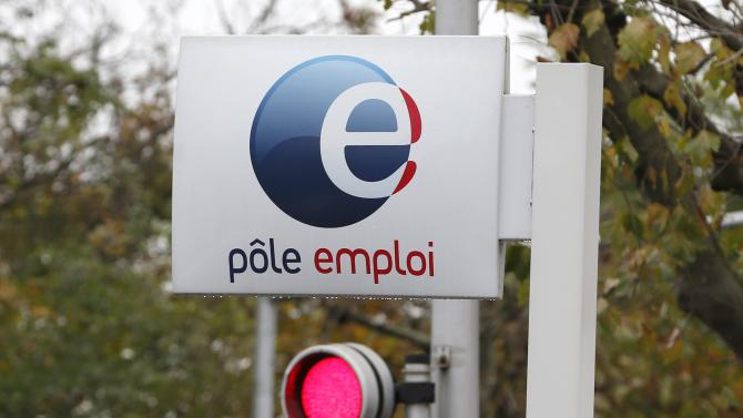 File photo of a logo seen on the entrance of a Pole Emploi office (National Agency for Employment) in Champigny sur Marne, eastern Paris