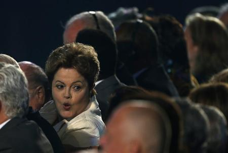 Rousseff attends the draw for the 2014 World Cup in Sao Joao da Mata