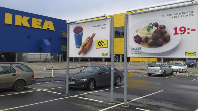 Advertising for Ikea meat balls at the parking area at an Ikea store in Malmo  Sweden Monday Feb. 25, 2012. Furniture retailer Ikea says it has halted all sales of meat balls in Sweden after Czech authorities detected horse meat in frozen meatballs that were labeled as beef and pork. (AP Photo/Johannes Cleris)  SWEDEN OUT