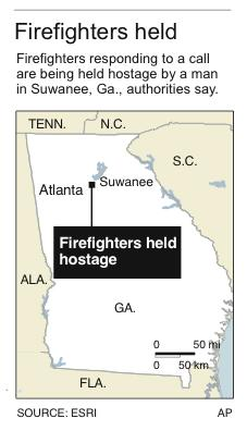 Locator map shows where firefighters are being held hostage.