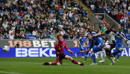 Chelsea's Frank Lampard, third right, beats Bolton Wanderers goalkeeper Adam Bogdan, left, to score a goal during their English Premier League soccer match in Bolton, England, Sunday Oct. 2, 2011. (AP Photo/Tim Hales)