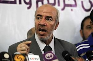 Khalid Hanafi, secretary of the Freedom and Justice Party and member of the Muslim Brotherhood, speaks during a news conference in Cairo