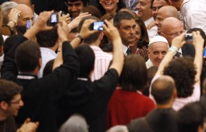 Pope Francis arrives for a meeting with novices at …