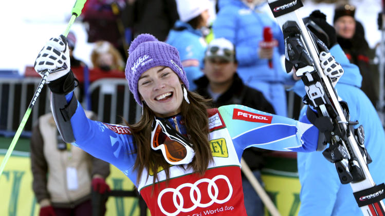 Tina Maze from Slovenia reacts in the finish arena after winning the women's Nature Valley World Cup Giant Slalom ski race in Aspen, Colo., on Saturday, Nov. 24, 2012. (AP Photo/Alessandro Trovati)