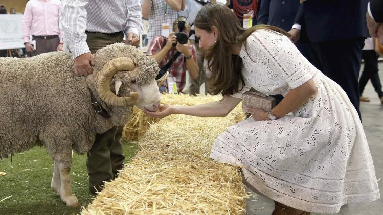 "Catherine, Britain's Duchess of Cambridge, pats a ram named ""Fred"" during a visit to the Sydney Royal Easter Show"