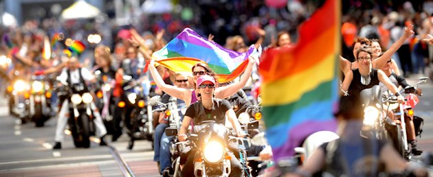 A contingent of &quot;Dykes of Bikes&quot; kicks off San Francisco's 42nd annual gay pride parade on Sunday, June 24, 2012. (AP Photo/Noah Berger)