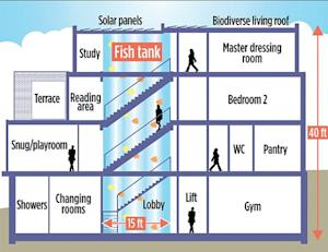 A diagram of Thierry Henry's 40-foot fish tank.